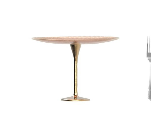 Rose Gold Cake Holder on a Brass Pedestal by Anna Vasily. - measure view