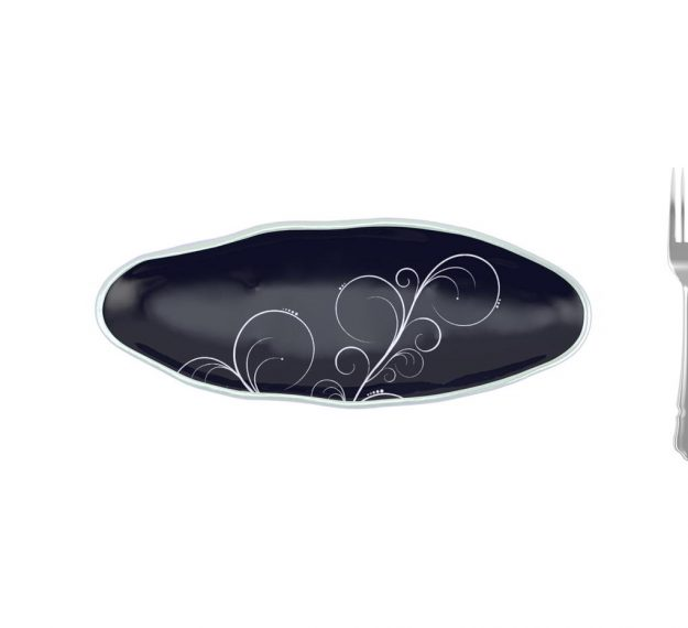 Navy Blue Salad Plate With Organic Rim Designed by Anna Vasily. - measure view