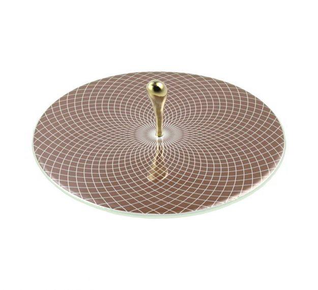 Elegant & Modern Round Serving Platter Designed by Anna Vasily. - 3/4 view