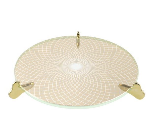 Cute Glass Cake Stand Subtly Textured by Anna Vasily. - 3/4 view