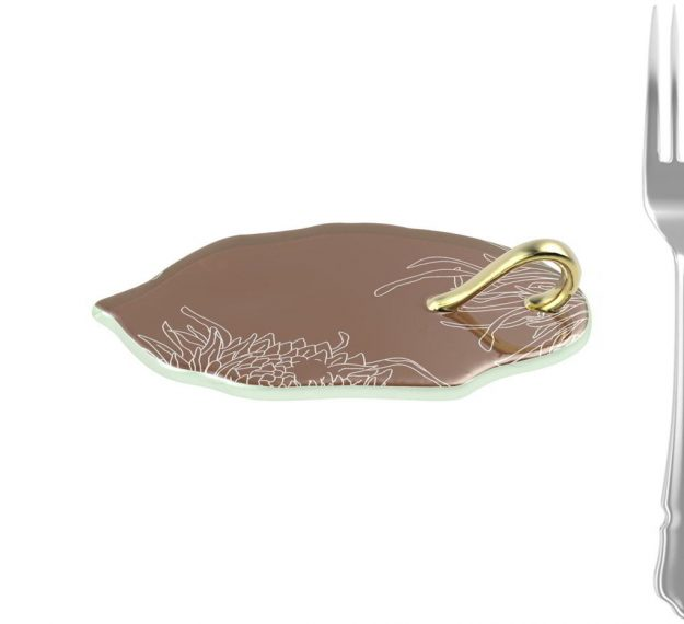 Unique Brown Canape Dish With Handle Designed by Anna Vasily. - measure view