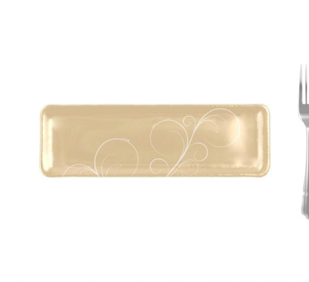 Handcrafted Rectangular Petit Fours Plate Designed by Anna Vasily. - measure view