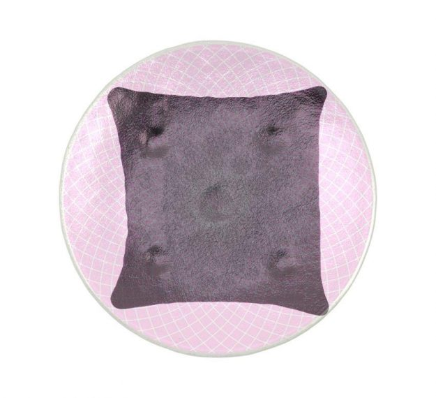 A Patterned Pink Petit Fours Plate on a Pillow by Anna Vasily. - top view