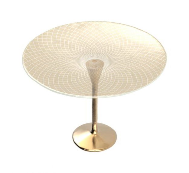 Glimmering Gold Cake Display Stand on Pedestal by Anna Vasily. - 3/4 view