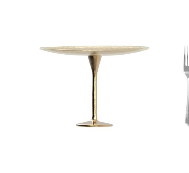 Glimmering Gold Cake Display Stand on Pedestal by Anna Vasily. - measure view