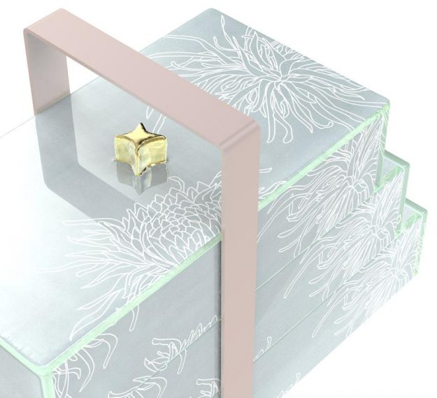 Elegant Bento Box With 3 Drawers and a Lid Designed by Anna Vasily. - detail view