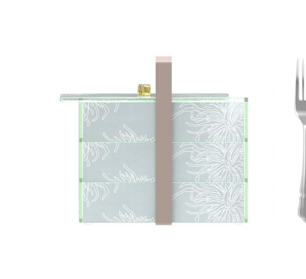 Elegant Bento Box With 3 Drawers and a Lid Designed by Anna Vasily. - measure view