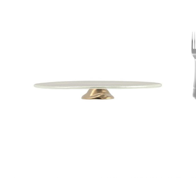 White Pedestal Cake Stand. Understated Elegance by Anna Vasily. - measure view