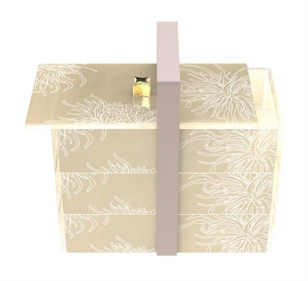 Floral Patterned Luxury Bento Box Designed by Anna Vasily. - 3/4 view