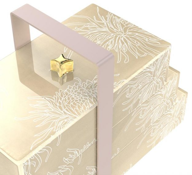 Floral Patterned Luxury Bento Box Designed by Anna Vasily. - detail view