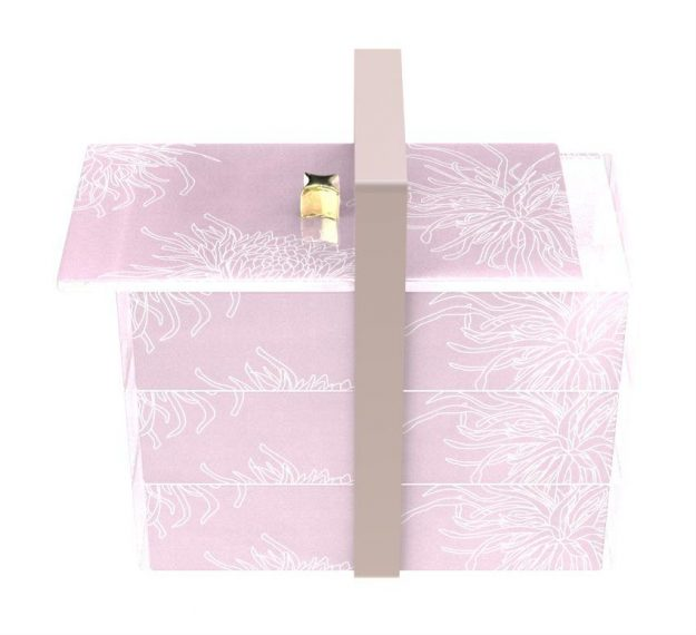 Stylish Pink Bento Box With 3 Compartments Designed by Anna Vasily. - 3/4 view