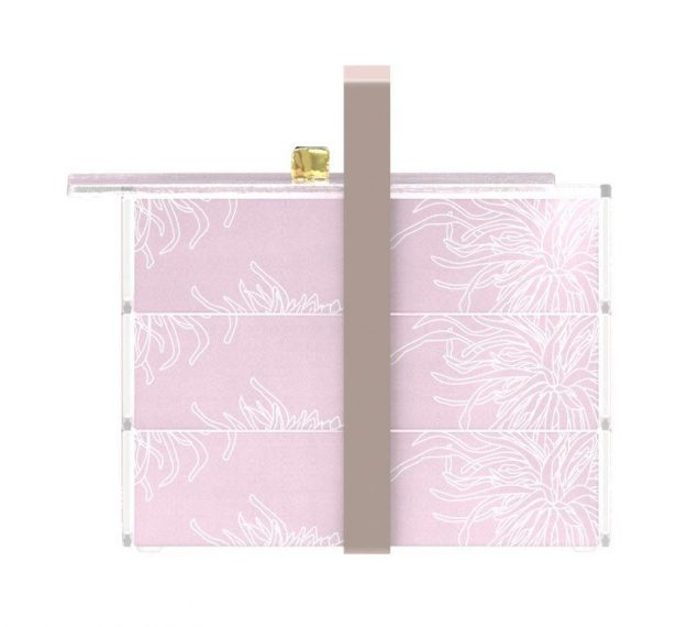 Stylish Pink Bento Box With 3 Compartments Designed by Anna Vasily. - side view