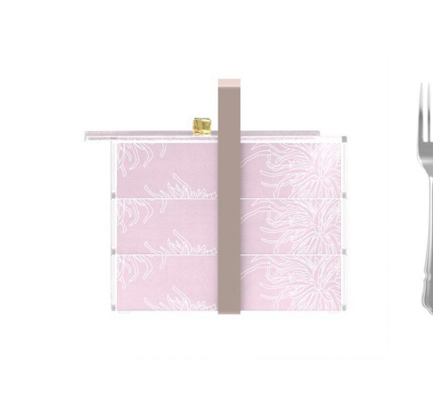 Stylish Pink Bento Box With 3 Compartments Designed by Anna Vasily. - measure view