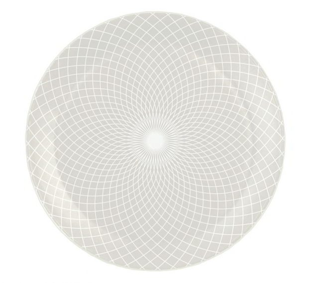 Metallic White Dinner Plate Set with a Pattern Designed by Anna Vasily - top view