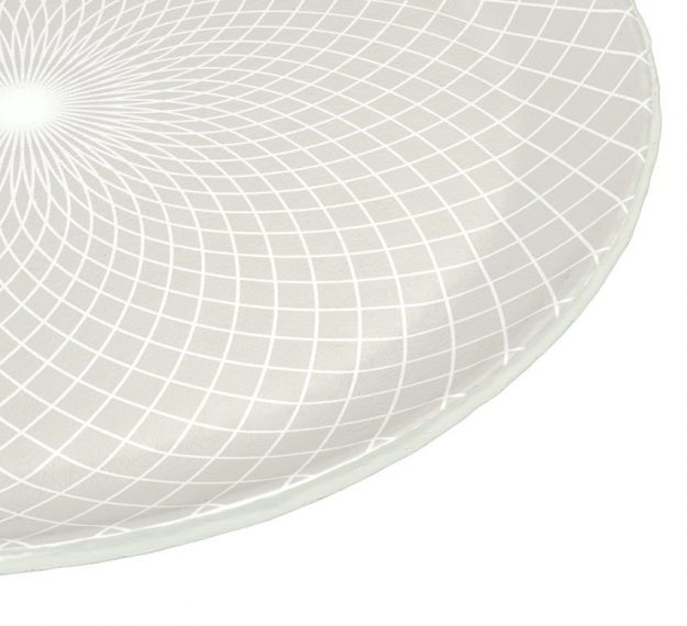 Metallic White Dinner Plate Set with a Pattern Designed by Anna Vasily - detail view