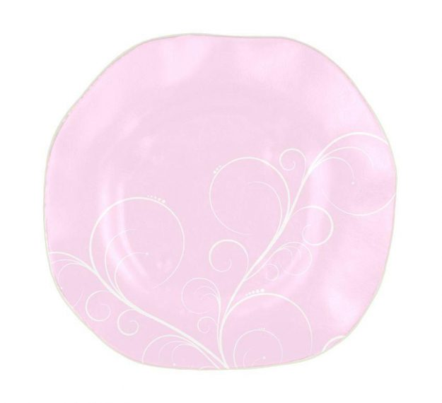 Organic Shaped Pink Charger Plates Designed by Anna Vasily. - top view