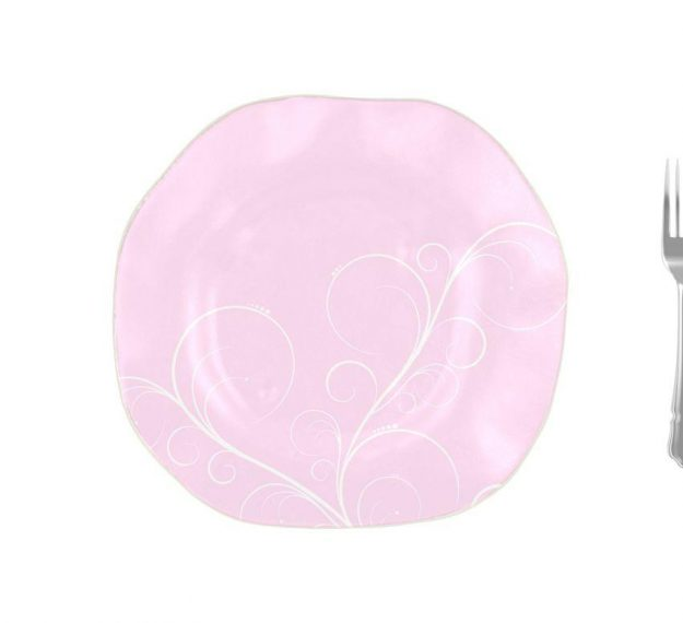 Organic Shaped Pink Charger Plates Designed by Anna Vasily. - measure view
