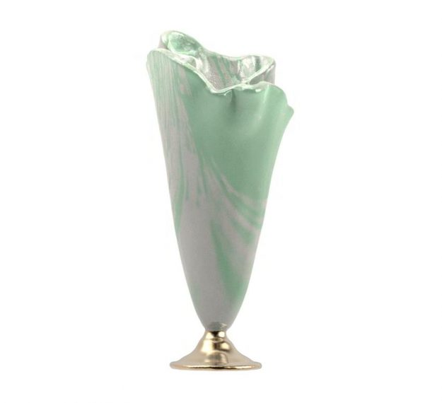 Glass Flower Vase Design in Pearly White and Green by AnnaVasily. - side view