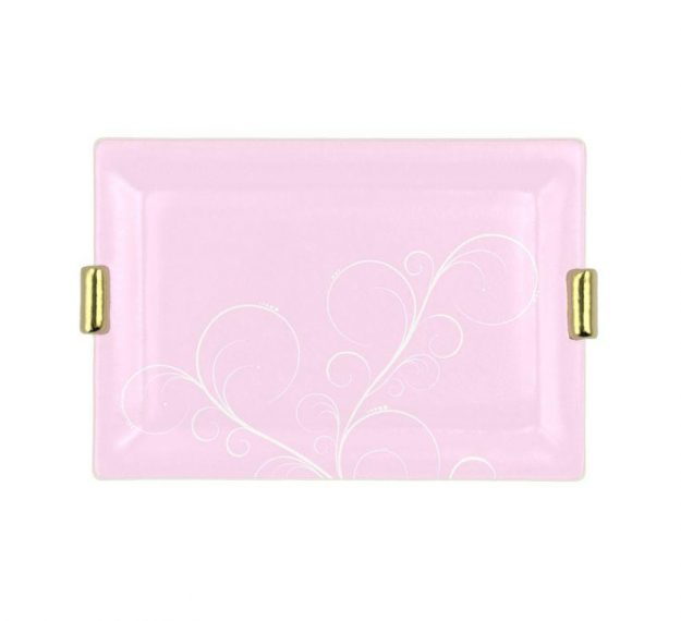 Pink Charger Plates with Shiny Brass Handles Designed by Anna Vasily. - top view