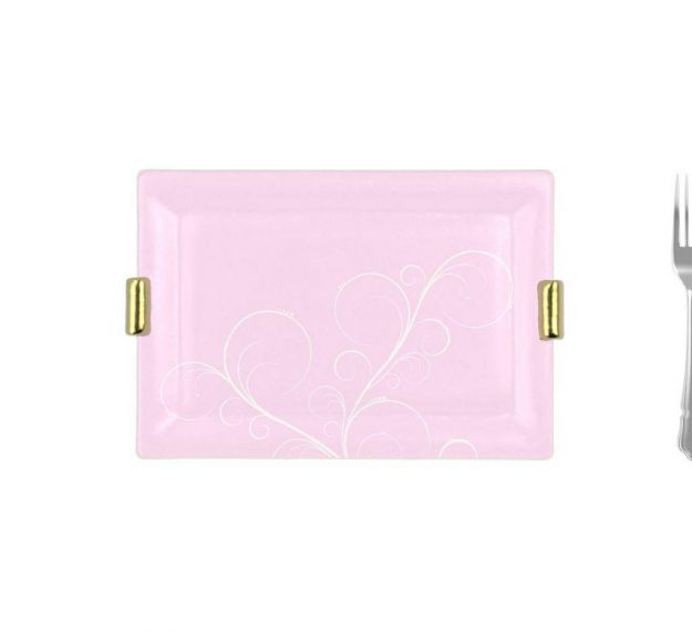 Pink Charger Plates with Shiny Brass Handles Designed by Anna Vasily. - measure view