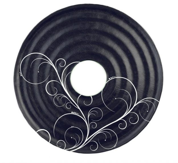 Designer Navy Blue Platter with Insert for Dip Bowl by Anna Vasily. - top view