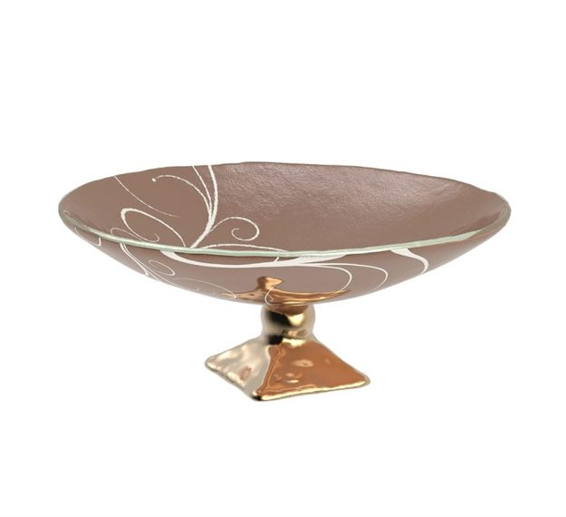Decorative Fruit Bowl Studded With A Glass Roundel by AnnaVasily. - 3/4 view
