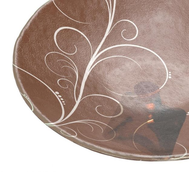 Decorative Fruit Bowl Studded With A Glass Roundel by AnnaVasily. - detail view