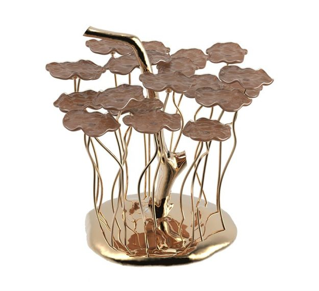 Nature Inspired Brass Petit Four Stand. Macaroon Stand by AnnaVasily. - 3/4 view