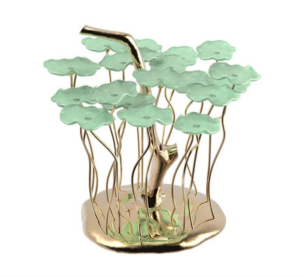AnnaVasily - Bobi is a green dessert stand with 20 removable flower shaped, mini glass plates.-3/4 View