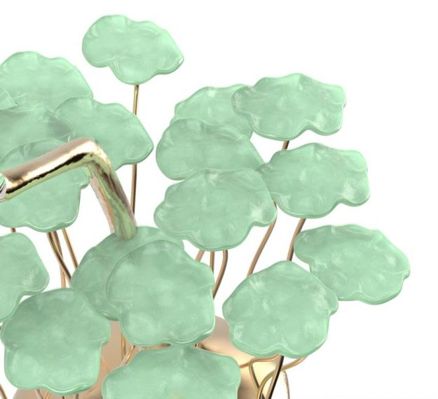 AnnaVasily - Bobi is a green dessert stand with 20 removable flower shaped, mini glass plates.-Detail View