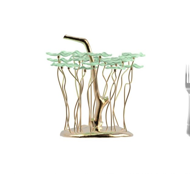 AnnaVasily - Bobi is a green dessert stand with 20 removable flower shaped, mini glass plates.-Measure View