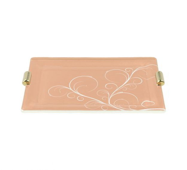 AnnaVasily - Nora is a sushi plate in a cameo rose colour with shiny bronze handles and our own Vivace design.-3/4 View