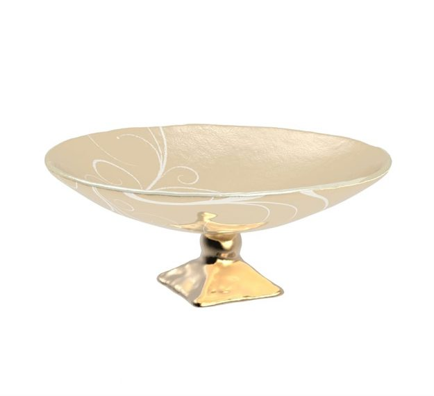 AnnaVasily - Xante is a large fruit bowl in cream and our Vivace pattern on a square bronze pedestal.-3/4 View
