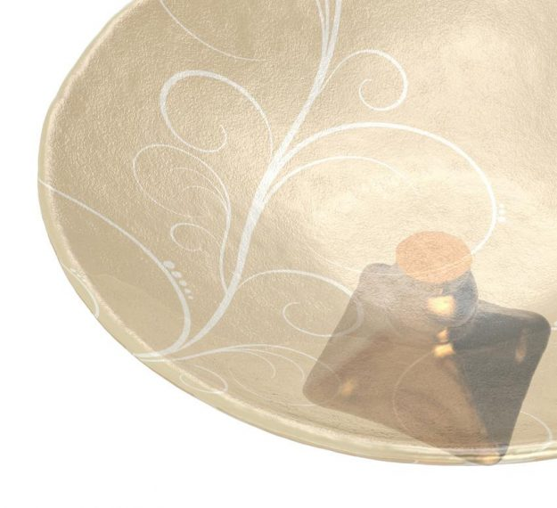 AnnaVasily - Xante is a large fruit bowl in cream and our Vivace pattern on a square bronze pedestal.-Detail View
