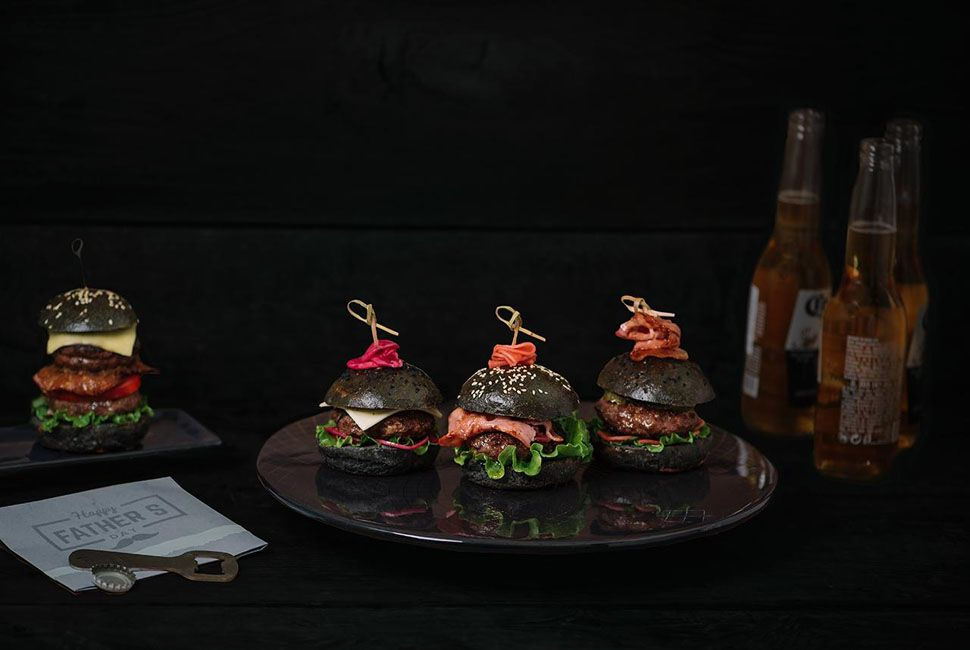 Burger plate Crys is a designer cake stand on bronze handmade pedestal, designed in deep night blue and our own
