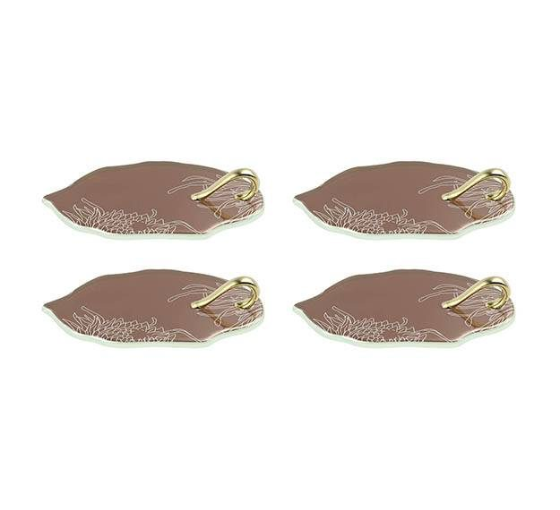 Unique Brown Canape Dish With Handle Designed by Anna Vasily. - set view