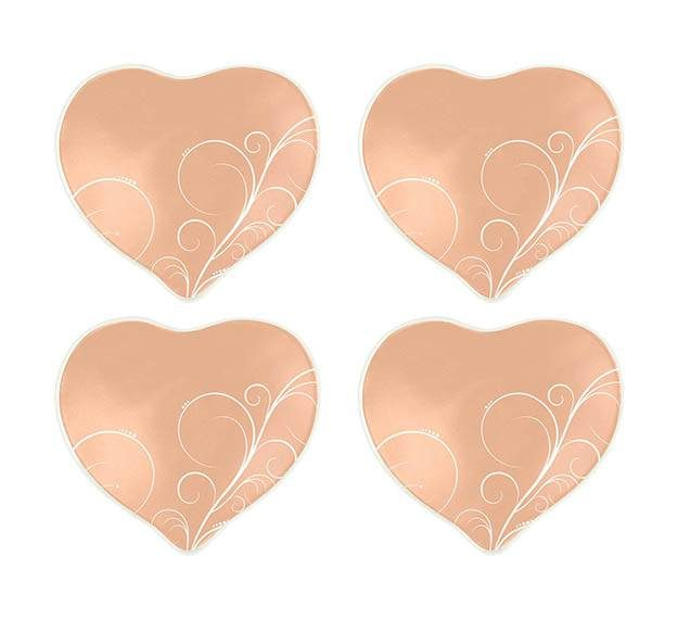 Floral Heart Plate Set of 4. Valentine Plates Designed by Anna Vasily. - set view