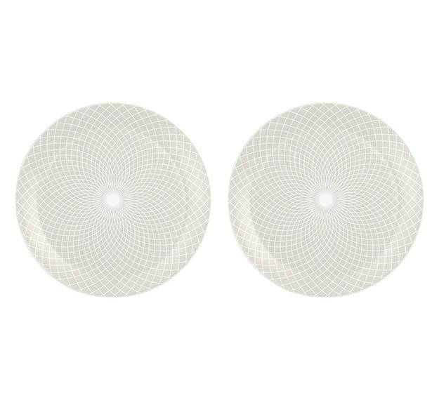 Metallic White Dinner Plate Set with a Pattern Designed by Anna Vasily - set view