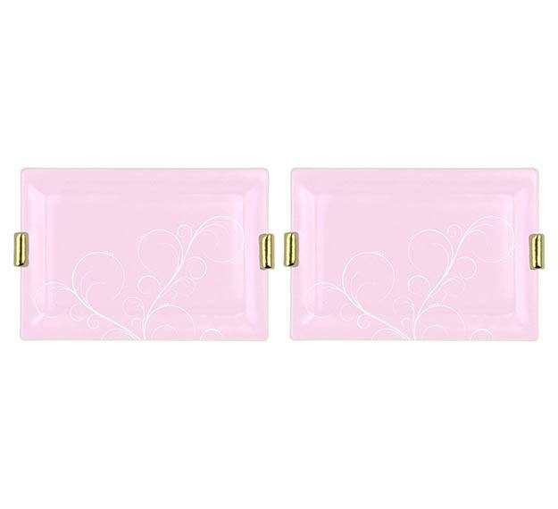 Pink Charger Plates with Shiny Brass Handles Designed by Anna Vasily. - set view