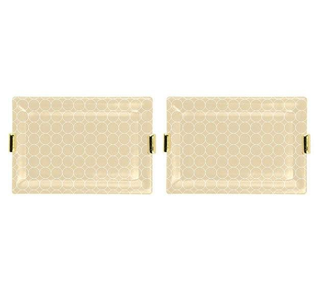 Metallic Cream and Gold Charger Plates Designed by Anna Vasily. - set view