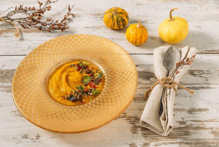gold dinner plates - amur soup bowl with a butter nut squash soup