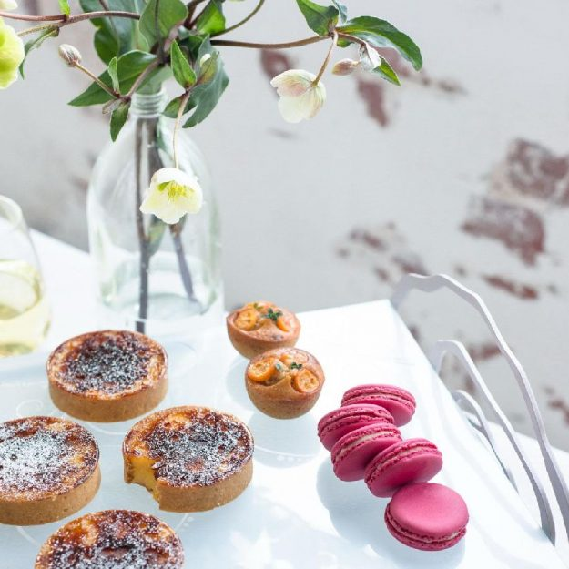 Light Blue Tea Stand, Blona Blue Finger Food Platter with Tarts and Macarons - Anna Vasily