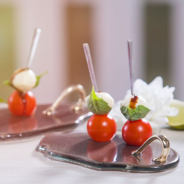 Glass Canape Dish with Handle, Cari Set Brown Small Canape Plates with Cherry Tomato Hors d'Oeuvres