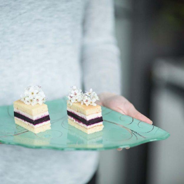 Woman Holding Mint Green Organic Shape Tapas Plates Set/2, Dora Floral Tapas Tableware - Anna Vasily