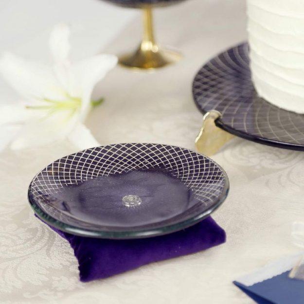 Royal Small Macaroons Plate, Edel Ring Holder Dish on Purple Velvet Pillow - Anna Vasily