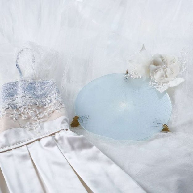 Boyish Sky Blue Cake Plate Stand, Gane Elegant Cheese Platter by anna Vasily on Bed with Blue Dress