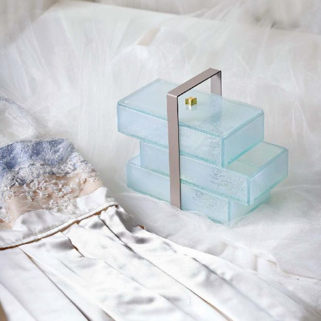 Elegant Bento Box, Hana Stackers Jewellery Box With 3 Drawers on Bed with Dress - Anna Vasily