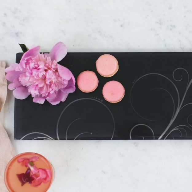 Blue Platters, Nelly Rectangular Blue Black Serving Platterth macarons and flower - Anna Vasily