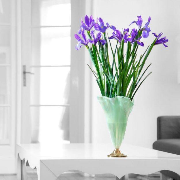 Glass Flower Vase Design On Brass Base, Paris with Peonies - Anna Vasily