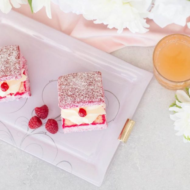 Set/2 Pink Charger Plates, Samy Rectangular Floral Table Chargers with raspberries and lamingtons